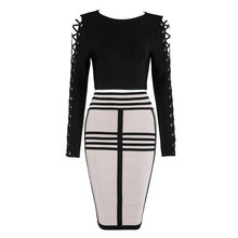 Top Quality HL Celebrity 2 Pieces Set Black Long Sleeve Knee Length Rayon Bandage Dress Cocktail Party Dress