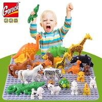 50pcs/lot Duplo Animal Zoo Large Building Blocks Enlighten Child Toys Lion Giraffe Dinosaur Compatible LegoINGlys Brick Kid Gift