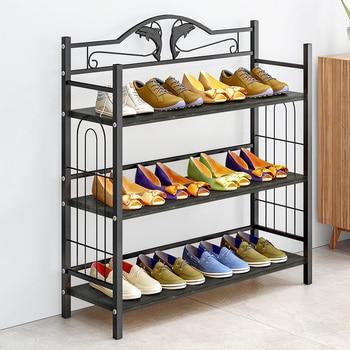 "32"" Lengthen 3 Tier Shoe rack iron Wooden compartment Shoes Storage Organizer Shelf Stand Shoe cabinet Furniture bookshelf"