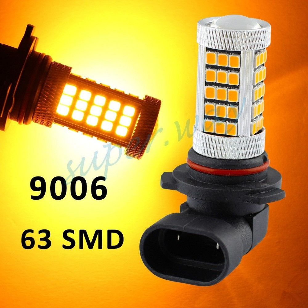 Yellow/Amber Orange 9006 HB4 63-SMD 66 SMD Car Driving Fog LED Bulb Lamp Lens Bright Than 33 SMD Light White Red Ice Blue car cob led h7 bulb fog light parking lamp bulbs driving foglight 7 5w drl 2pcs amber yellow white red ice blue