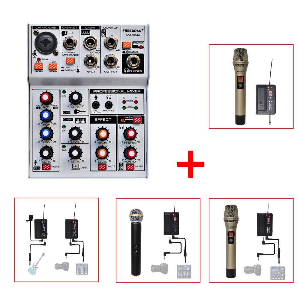 FREEBOSS AM-G04A Bluetooth Registrazione Audio mixer e PLL Microfono WirelessFREEBOSS AM-G04A Bluetooth Registrazione Audio mixer e PLL Microfono Wireless