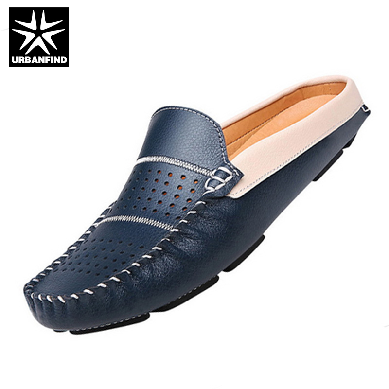 URBANFIND New Fashion Man Leather Flats British Half Slipper Loafers EU 38-44 Summer Men Driving Shoes Black / Dark Blue / White