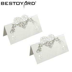 50pcs Laser Cut Heart Shape Place Cards Wedding Name Cards Wine Glass Wedding Event Laser Cut Flower Decoupage(China)