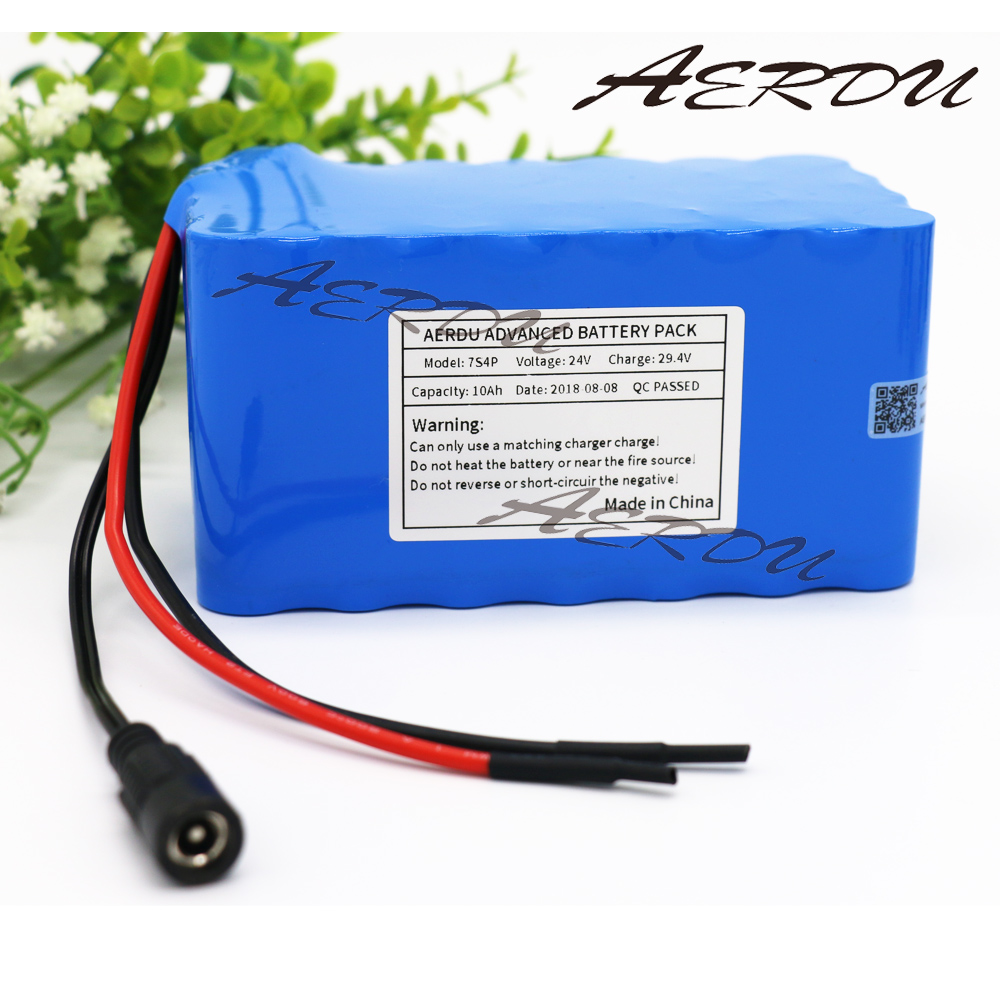AERDU 7S4P 24V 10Ah with 15A BMS 29.4V Li-ion Battery Pack For Electric Unicycles moped ebike Scooters light bicycle power 24v 10 ah 6s5p 18650 battery lithium battery 24 v electric bicycle moped electric li ion battery pack