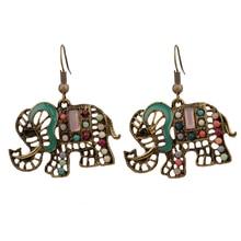Bohe Bohemian Earrings For Women Retro Vintage Colorful Hollow Elephant Earings Jewelry 2019