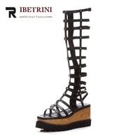 RIBETRINI New Fashion Genuine Leather Zip Wedges High Heels Solid Platform Shoes Woman Leisure Sandals Big Size 33 42