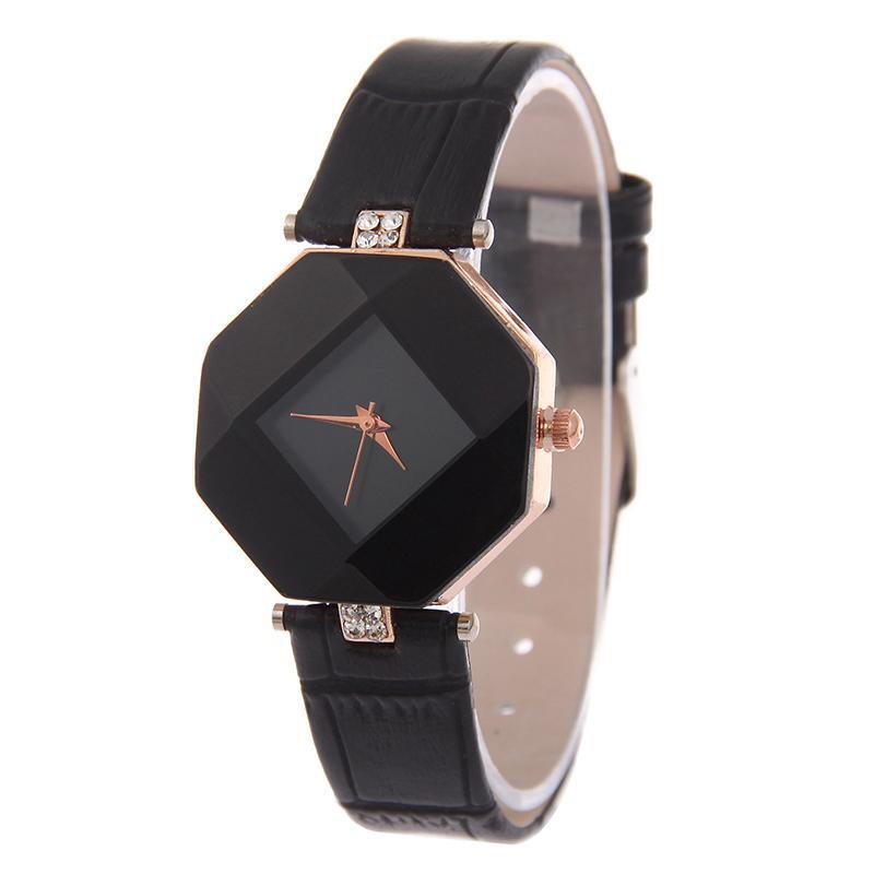 Women Watches Gem Cut Geometry Crystal Leather Quartz Wristwatch Fashion Dress Watch Ladies Gifts Clock Relogio Feminino 5 Color