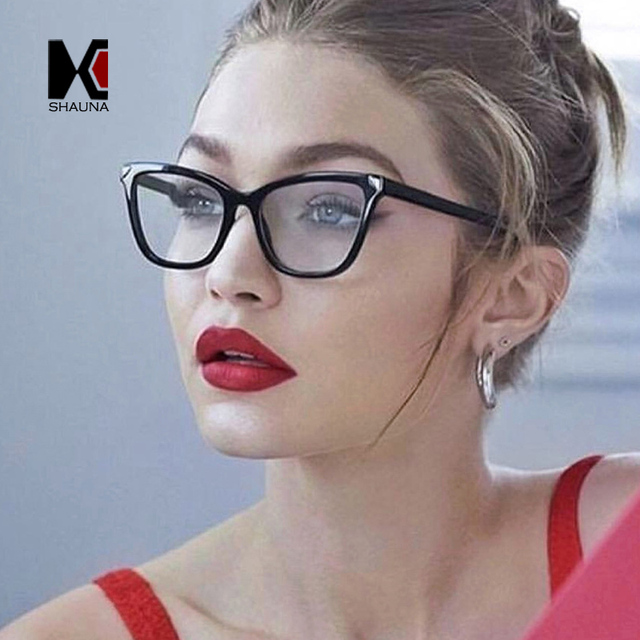 a5bf7dc7e8eff SHAUNA Classic Metal Nail Decoration Eyeglasses Optical Frame Women Fashion Cat  Eye Glasses Myopia