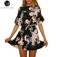 Lily Rosie Girl Short Sleeve Boho Floral Print Women Mini Dresses 2018 Summer Beach Party Short