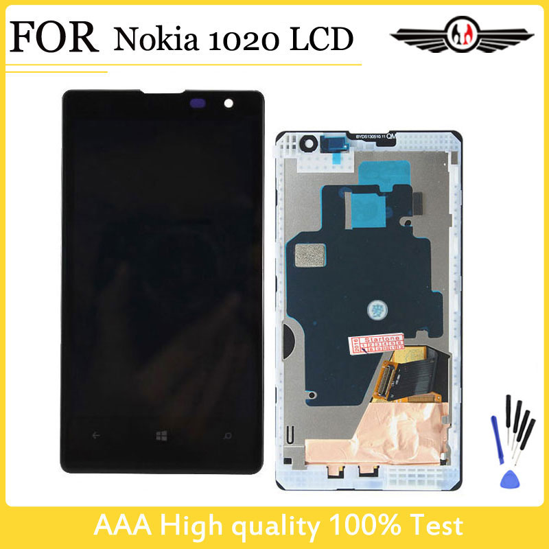 Prix pour Livraison gratuite à 100% test Pour Nokia Lumia 1020 LCD Affichage Écran Tactile Digitizer LCD Assemblée avec Cadre + Outils