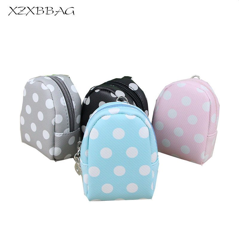 XZXBBAG Cute Candy Color Dot Zipper Coin Purses Female Mini Zero Wallet Change Purse Girl Money Bag Key Ring Organizer XB096