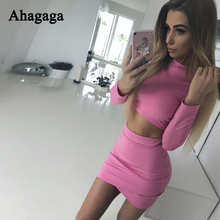 Ahagaga 2019 Autumn Winter Tracksuits women Suits Sets Fashion Solid costume 2-pieces (t-shirts+Skirts) Suit Set Female
