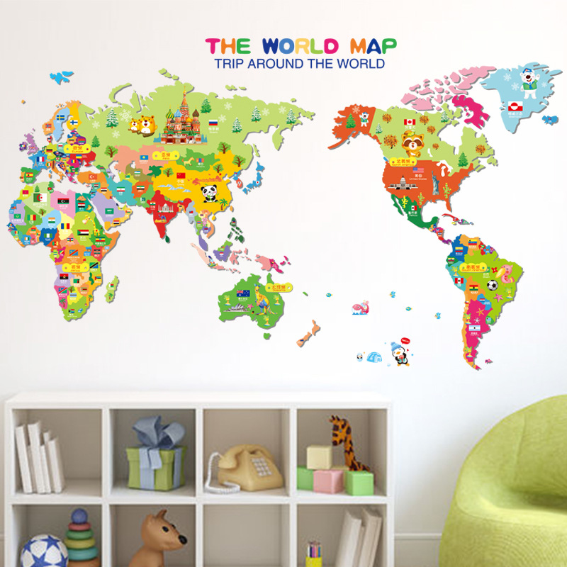 Aliexpress Com Buy Cartoon Animal World Map Colorful
