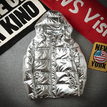 Silver Bright Jacket Coat man Winter Warm Thick Down Cotton Padded Short Parkas Bread Style Fashion Men's Bomber Hooded Outwear