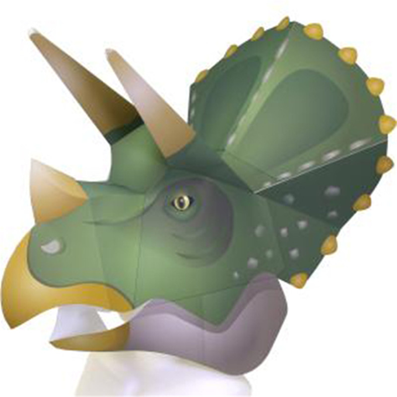 Building & Construction Toys Sweet-Tempered Dinosaur Head Model Paper Diy Material Manual Creative Party Masquerade Show Props Tide Hand Made Tyrannosaurus Rex Triceratops Toys & Hobbies