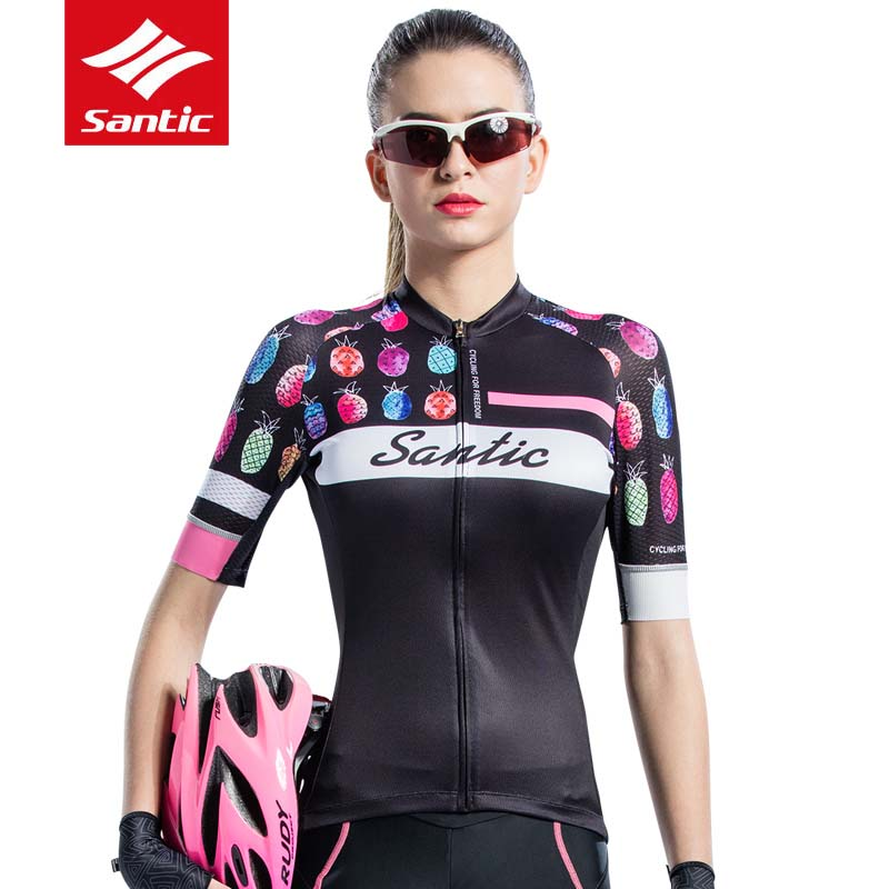 2Color Women Fashion Bicycle Short Sleeve Jerseys MTB Road Bike Breathable Ladies Clothes Anti sweat Cycling Tights S 2XL SANTIC
