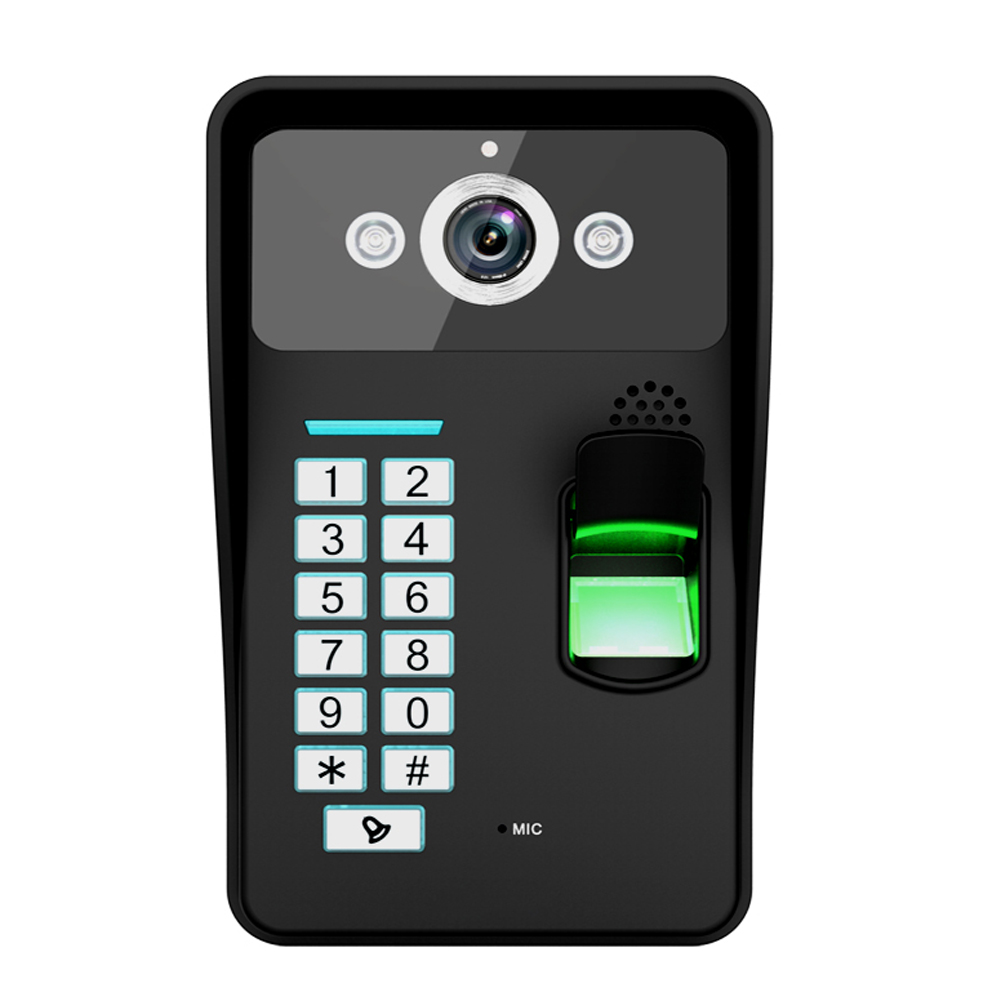 Fingerprint Recognition WiFi Wireless Video Door Phone DoorBell Home Intercom System IR RFID Camera Support For Android IOS ennio touch key wireless video door phone wifi doorbell wifi intercom home intercom system ir camera