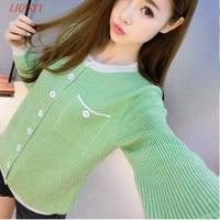 2016 Spring New Women S Round Neck Long Sleeved Cashmere Cardigan Sweater Stripe Knit Cardigan Jacket