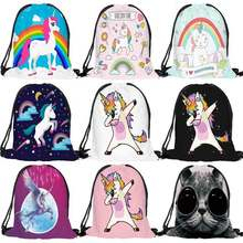 Fashion Multicolor Portable Cartoon Unicorn Shoes Bag Sport Storage Pouch Drawstring Dust Bags Non-woven Beach Travel Backpacks(China)