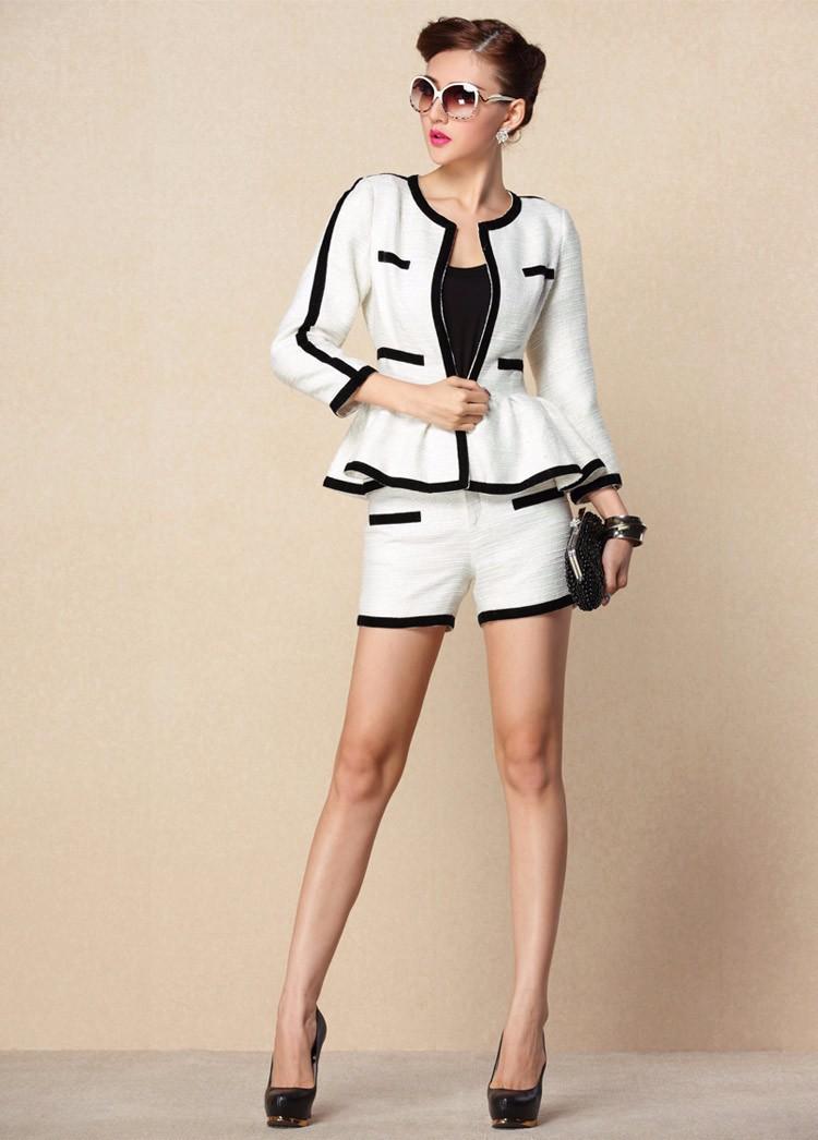 High-end Black White Patchwork Ruffle Decoration Blazer and Short Pants Women Suits Autumn 2015 (8)