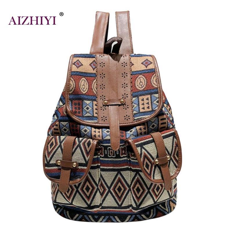 Vintage Printing Canvas Women Backpacks Travel Drawstring Shoulder Bag Girls School Bag Rucksacks Bohemian Style Backpack