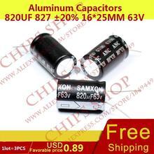 1LOT 3PCS Aluminum Capacitors 820uF 827 20 16 25mm 63V 820000nF 820000000pF Diameter16mm
