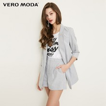 Vero Moda Women's Striped Lapel 3/4 Sleeves Long Jacket Blazer | 318308516(China)
