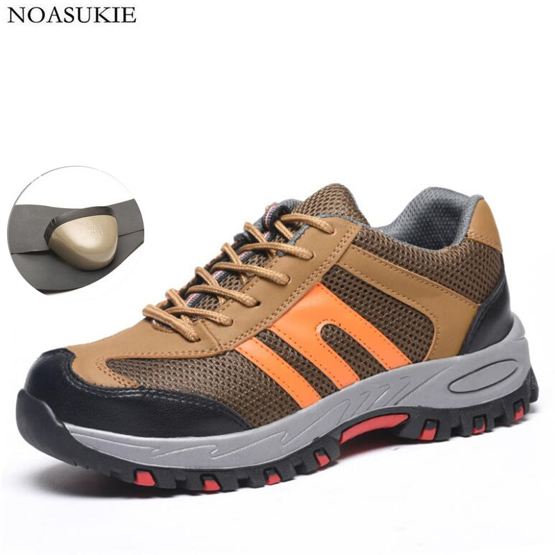 Hipsters Summer Men Mesh Breathable Safety Shoes Tennis Stitching Fashion Sneakers Work Shoes Anti Smashing Puncture
