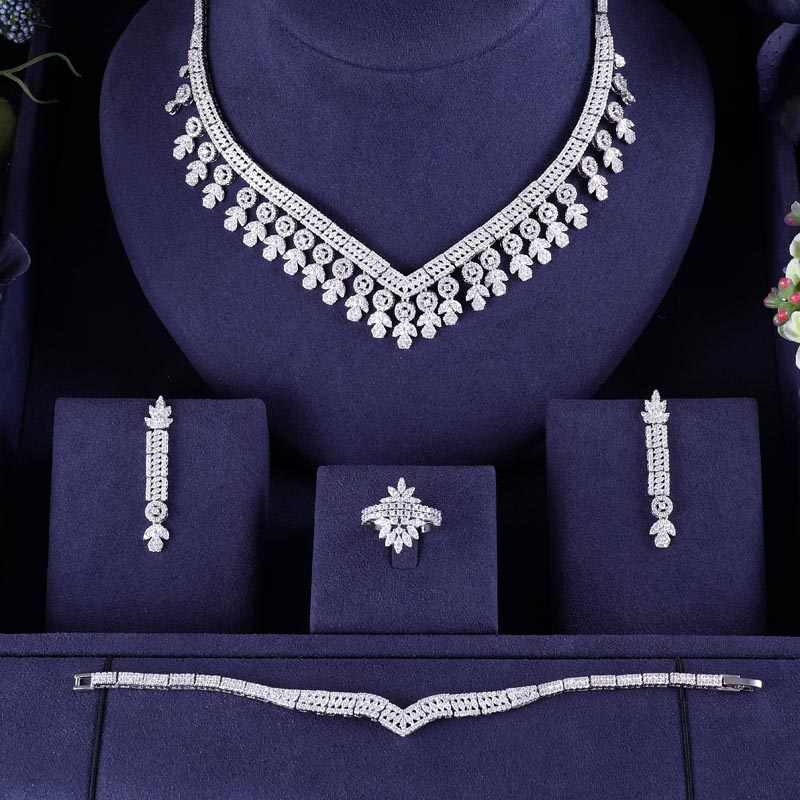 jankelly Nigeria Bridal Zirconia For Women Party Luxury Dubai Necklace Earringa Rings CZ Crystal Wedding Jewelry Sets