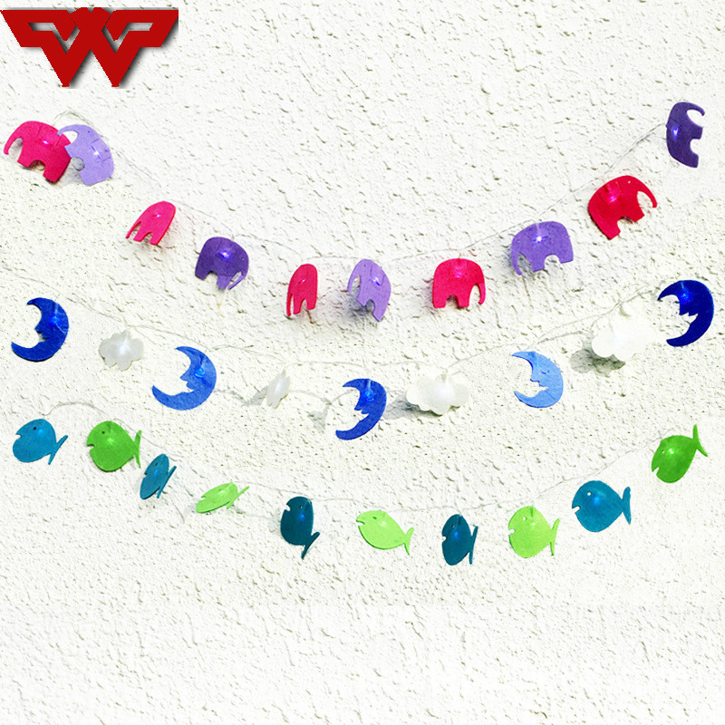 1.2m Cartoon Elephant/Moon/Fish String Light Banner Led Light For Kids Birthday Wedding Party Photo Props Decoration Supplies