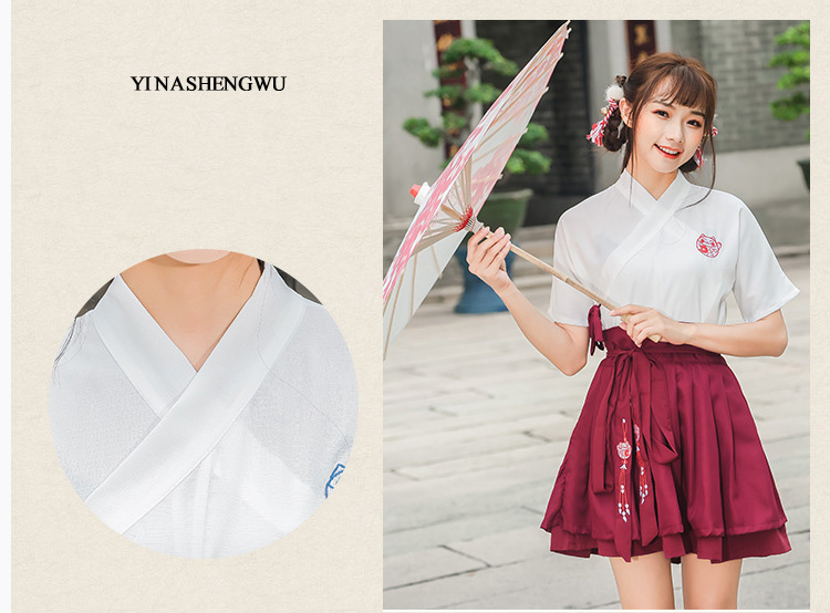 Hanfu Costume Dress Women Improved Hanfu Daily Short Sleeve Hanfu Embroidered Crossdresses Costumes Han Elements Student Set 12