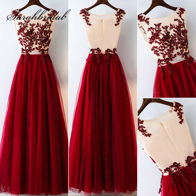 Real Photo Spring Red Long   Prom     Dresses   Lace Sequined Appliques Tulle Illusion Women Evening Party Gown Cheap Maxi   Dress   L3147