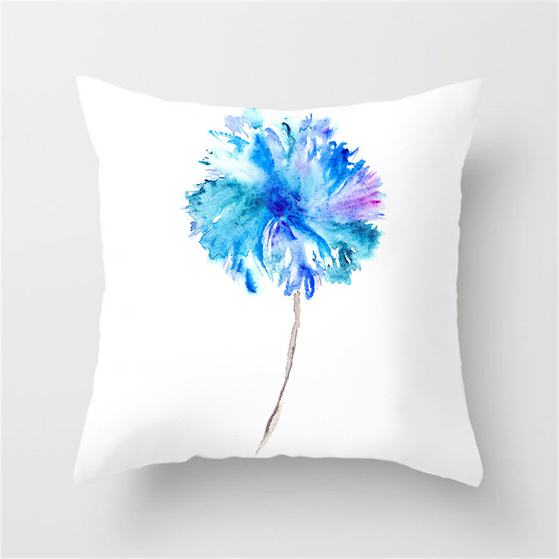 Image 2 - Fuwatacchi Simple Painting Flower Feather Cushion Cover Flamingo Pineapple Leaves Solid Pillow Case Home Decoration Accessories-in Cushion Cover from Home & Garden
