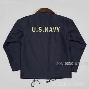 Image 2 - BOB DONG Repro 40s US Navy N 1 Deck Jacke Zurück Farbe Winter Military Uniform USN Mantel der Männer 44