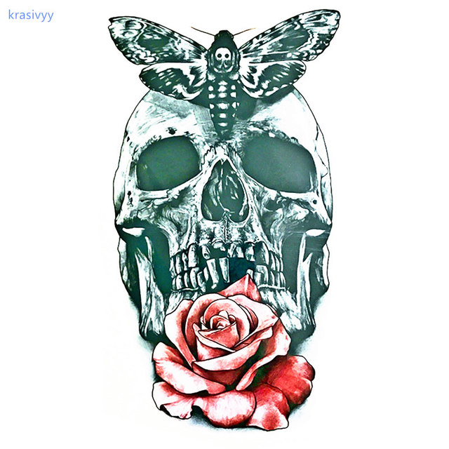 Skull Tattoo Rose With Butterfly Sexy Cool Waterproof Temporary