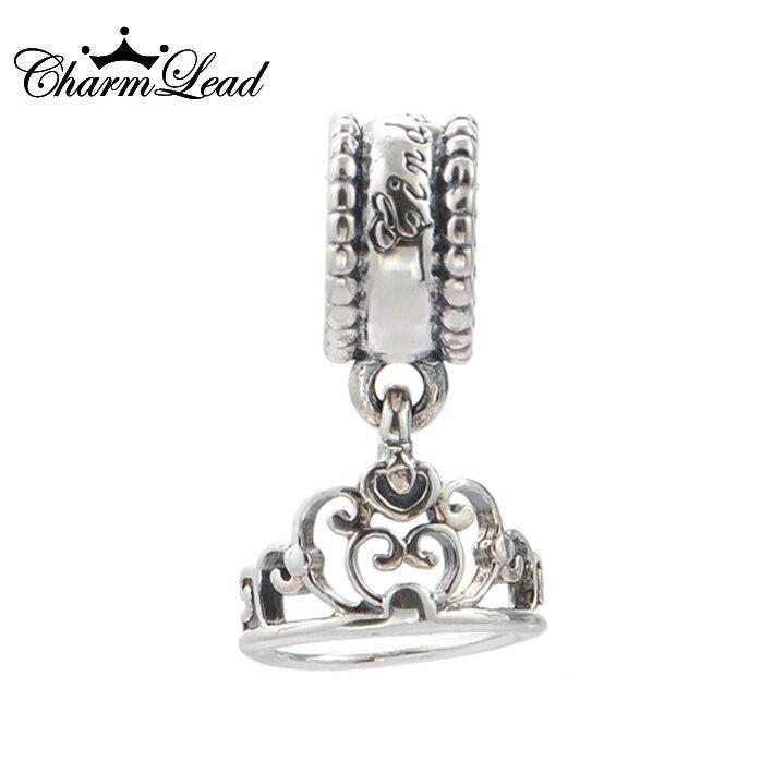 7a766d06e ... Fits Pandora Charms Bracelet Authentic 925 Sterling Silver Charms Tiara  Cinderella Crown Charm Pendant Bead DIY ...