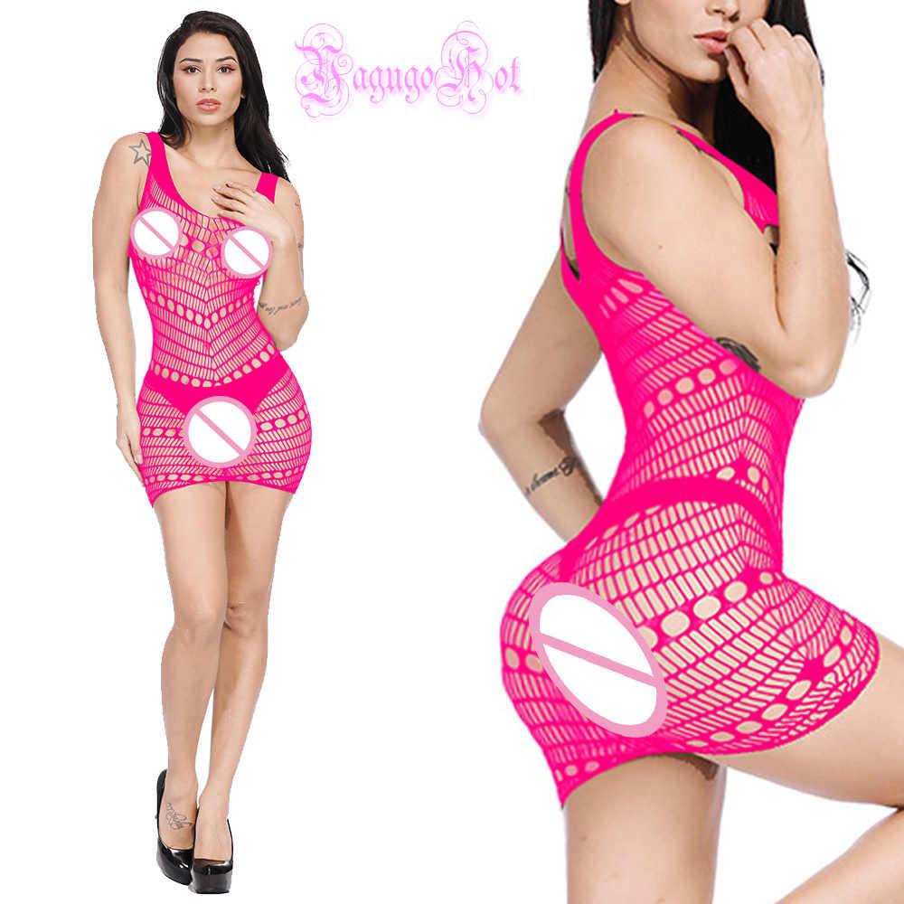 Sexy erotyczne kabaretki Dot cięcia Babydoll Mini sukienka miesiąc miodowy uwodzenia klub bielizna nocna bielizna Cosplay kostiumy Cotillon kimono