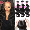 8A Peruvian Virgin Hair With Closure 4pcs Queen Hair Products Peruvian Body Wave With Closure Hair Bundles With Lace Closures