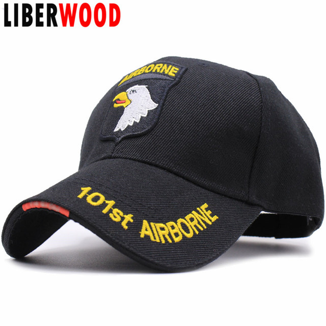 LIBERWOOD US ARMY 101ST AIRBORNE DIVISION SCREAMING EAGLES Cap Hat Air  Force Baseball caps for Men Embroidered cap hats BLACK 44f7486987fa
