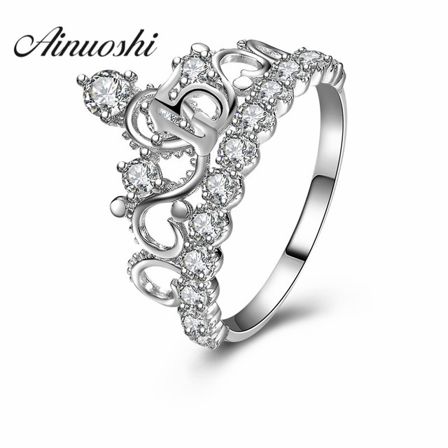 Ainuoshi 925 Sterling Silver Queen Crown Wedding Rings Sona Round Cut Women Engagement Anniversary Bridal