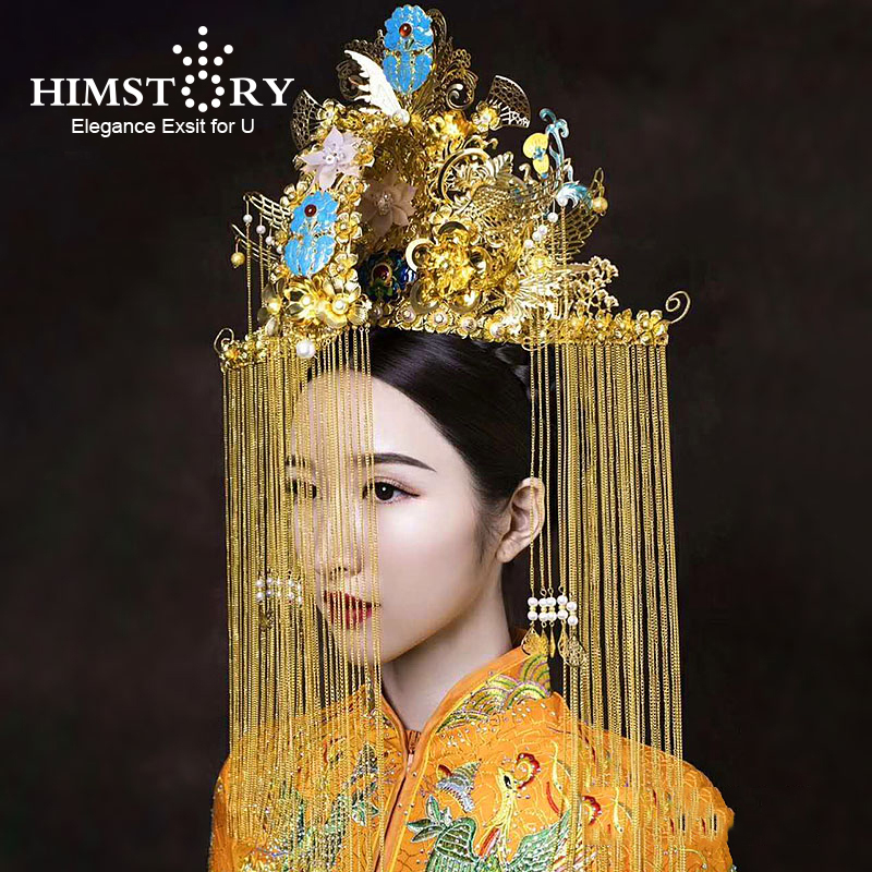 HIMSTORY Gorgeous Chinese Traditional Phoenix Coronet Long Tassel Hairwear Super Large Chinese Retro Wind Wedding Hair