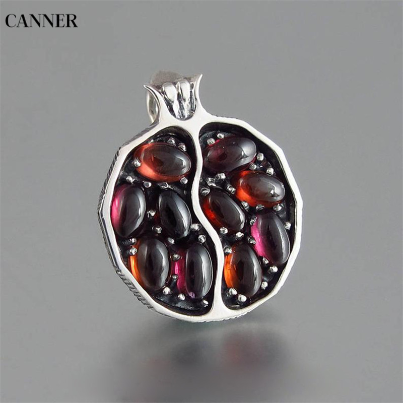 Canner Pomegranate Choker Necklace Women Vintage Crystal Pendant Gold Chain Garnet Punk Jewelry 2019