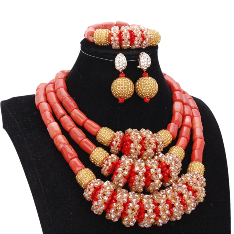 Dudo Nigerian Beads Necklaces Earring Set African Original Coral Beads Jewelry Set With Gold Red Big Balls Bridal Jewellery Set