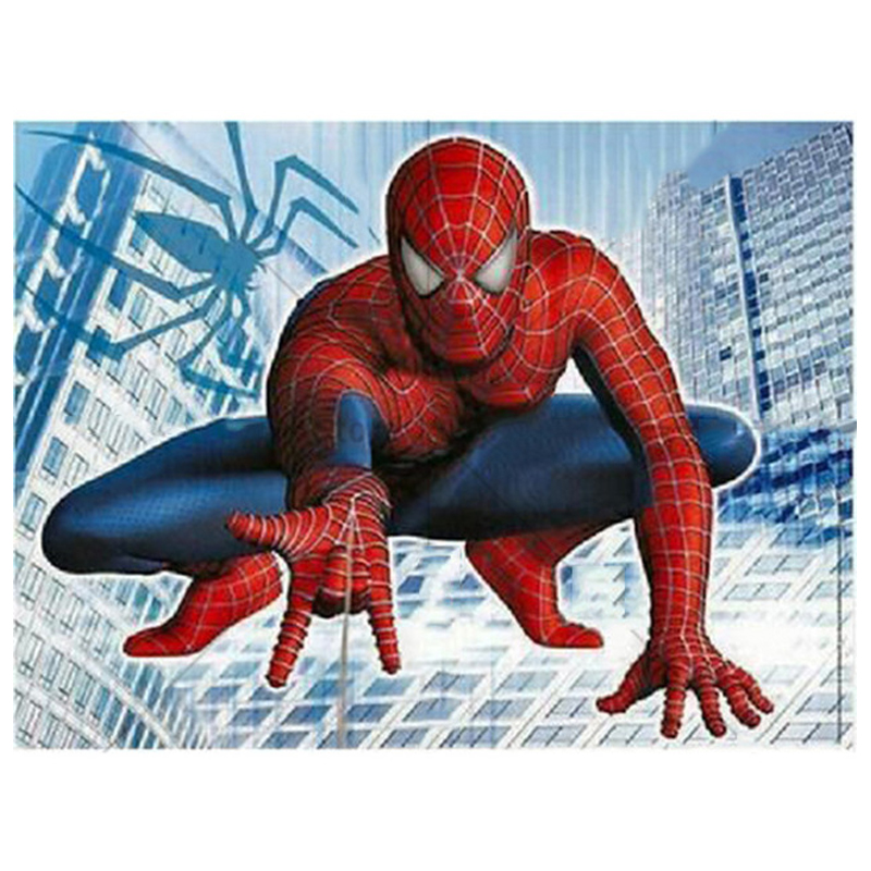 5D Diy Diamond Painting Super Spiderman Diamond Embroidery Paintings By Number Needlework Diamond Mosaic Craft WallStickerZP-819(China)