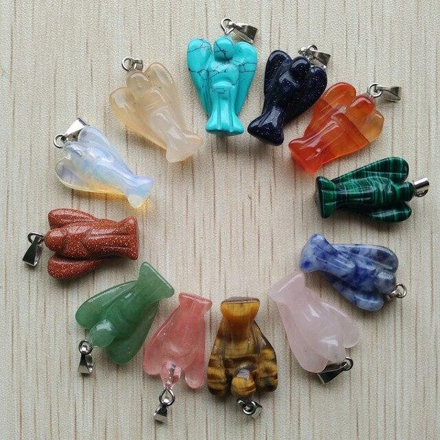 Envío Gratis tallado de piedra natural mixta colgantes de abalorio de Ángel para hacer collares de joyería 12 unids/lote al por mayor