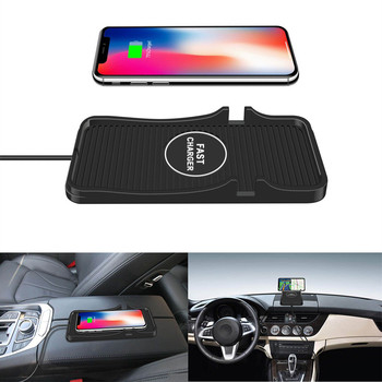 Car Wireless Charger For iPhone 8 Plus X XR XS Max 2in1 Wireless Charger Car Silicone Pad Phone Dash Mount with GPS Holder image