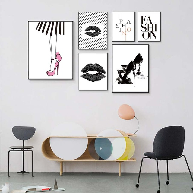 Sex Lady Black Lip High Heel Wall Picture Bedroom Modern Canvas Painting Art Posterampprint Home