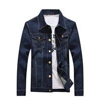 Spring Autumn Dark Blue Men S Long Sleeve Denim Jackets S M L XL 2XL 3XL