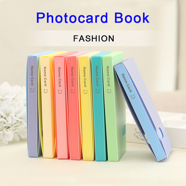 US $7 99 20% OFF|Youpop KPOP Fashion Portable 120 Cards PP Korean Album  Card LOMO Smile Photocard Name ID Credit Card Candy Colors Holder Book-in