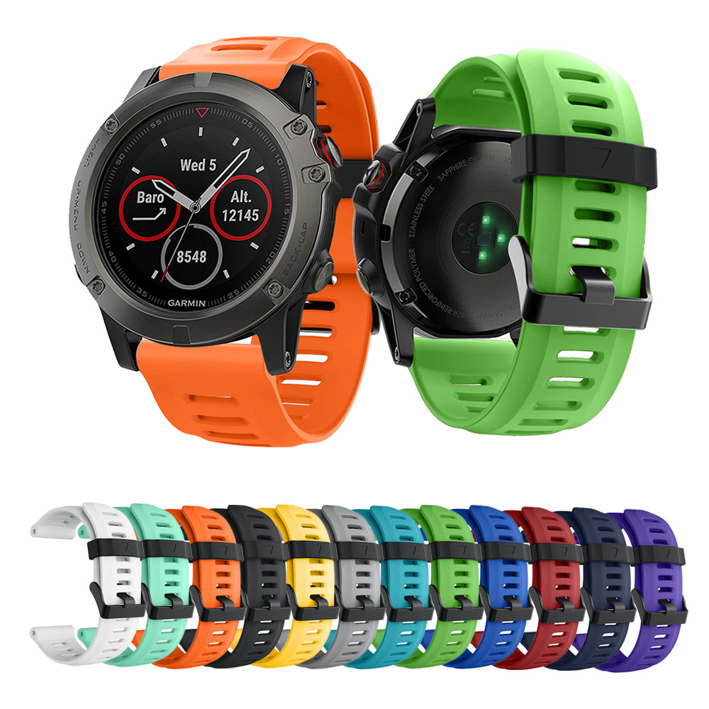 14colors Soft Silicone Replacement Watch Band for Garmin Fenix 3 / Fenix 3 HR / Fenix 5x Smart Watch 26mm Silicone strap Black